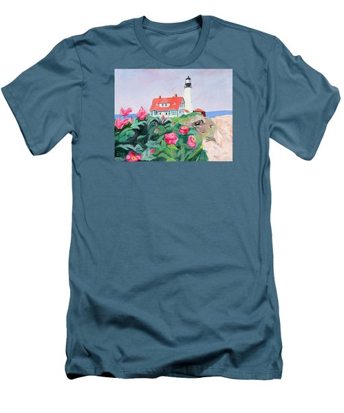 Roses At Portland Headlight Men's T-Shirt (Athletic Fit)