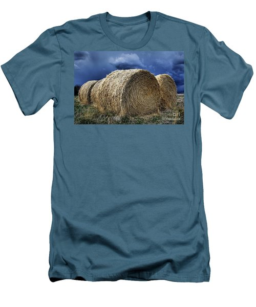 Men's T-Shirt (Slim Fit) featuring the photograph Round Bales by Brad Allen Fine Art