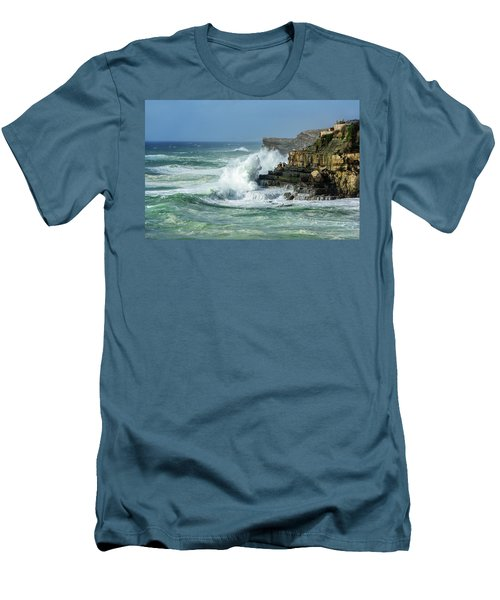Men's T-Shirt (Slim Fit) featuring the photograph Rugged Coastal Seascape by Marion McCristall