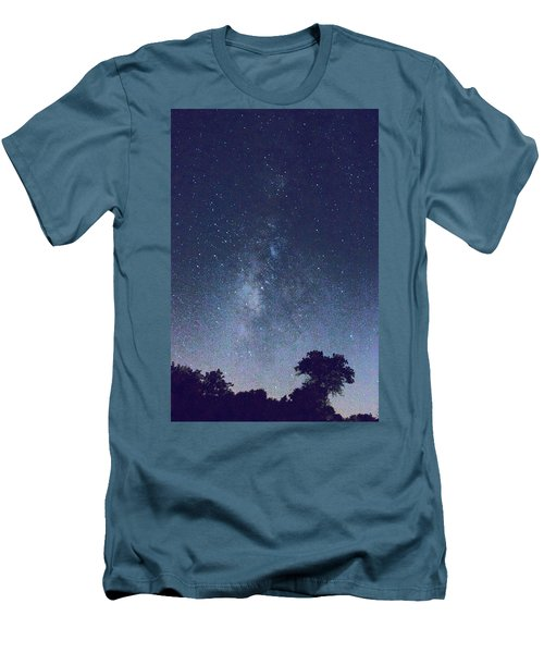 Running Dog Tree And Galaxy Men's T-Shirt (Athletic Fit)