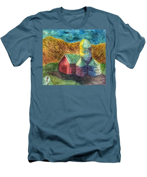 Men's T-Shirt (Slim Fit) featuring the painting Rural Farm by Jame Hayes