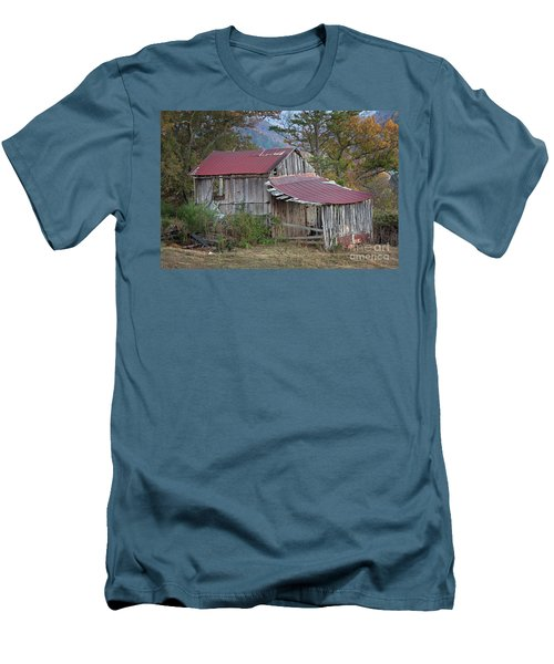 Men's T-Shirt (Slim Fit) featuring the photograph Rustic Weathered Hillside Barn by John Stephens