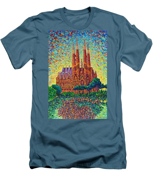 Sagrada Familia Barcelona Modern Impressionist Palette Knife Oil Painting By Ana Maria Edulescu Men's T-Shirt (Slim Fit) by Ana Maria Edulescu