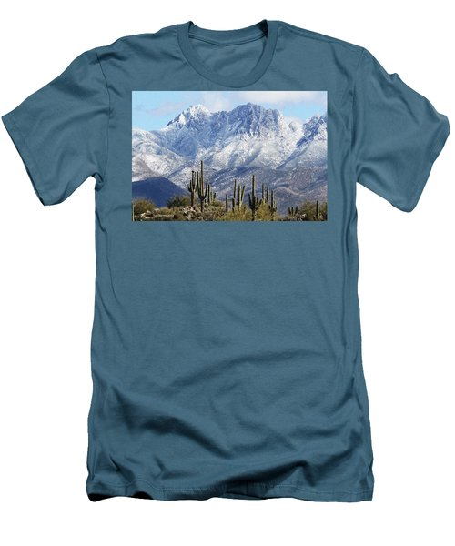 Saguaros At Four Peaks With Snow Men's T-Shirt (Athletic Fit)