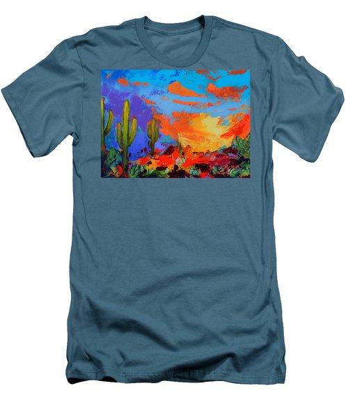 Saguaros Land Sunset Men's T-Shirt (Athletic Fit)