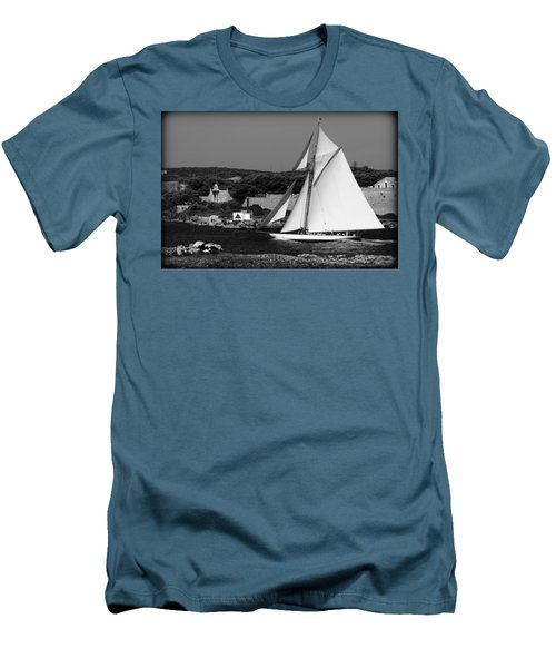 sailboat - a one mast classical vessel sailing in one of the most beautiful harbours Port Mahon Men's T-Shirt (Slim Fit) by Pedro Cardona