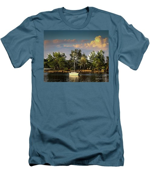 Sailboat In The Bay Men's T-Shirt (Athletic Fit)