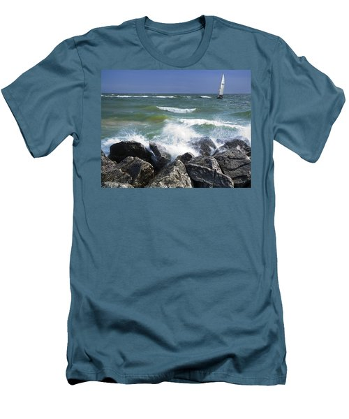 Sailboat Sailing Off The Shore At Ottawa Beach State Park Men's T-Shirt (Athletic Fit)