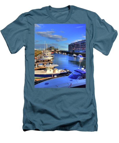 Men's T-Shirt (Athletic Fit) featuring the photograph Sailboats Docked On Boston Harbor by Joann Vitali
