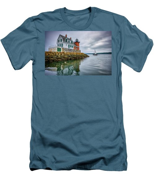 Men's T-Shirt (Athletic Fit) featuring the photograph Sailing Past The Breakwater by Rick Berk