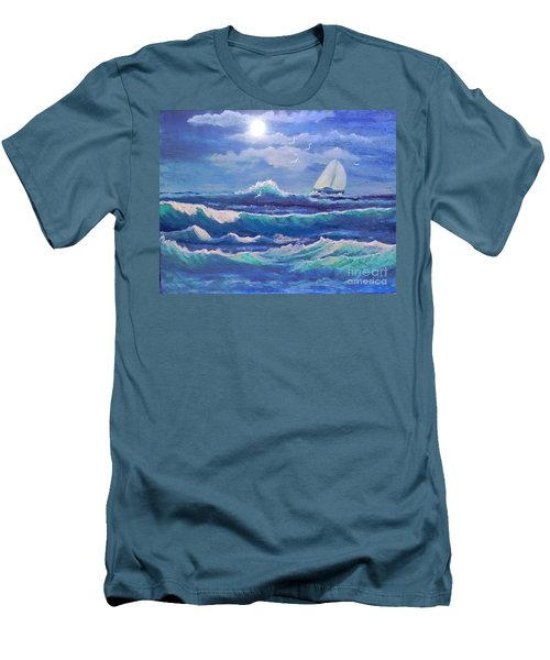 Sailing The Caribbean Men's T-Shirt (Slim Fit) by Holly Martinson