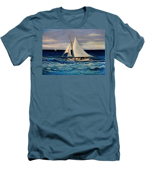 Sailing With The Waves Men's T-Shirt (Athletic Fit)