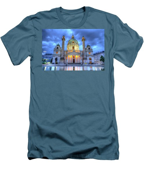 Saint Charles's Church At Karlsplatz In Vienna, Austria, Hdr Men's T-Shirt (Athletic Fit)