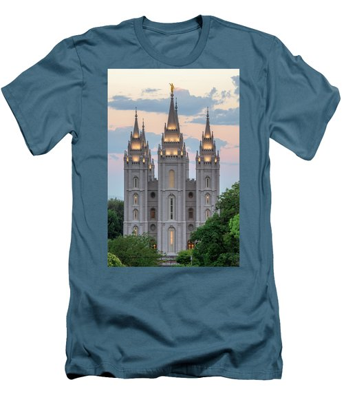 Salt Lake City Temple Morning Men's T-Shirt (Slim Fit) by Dustin  LeFevre