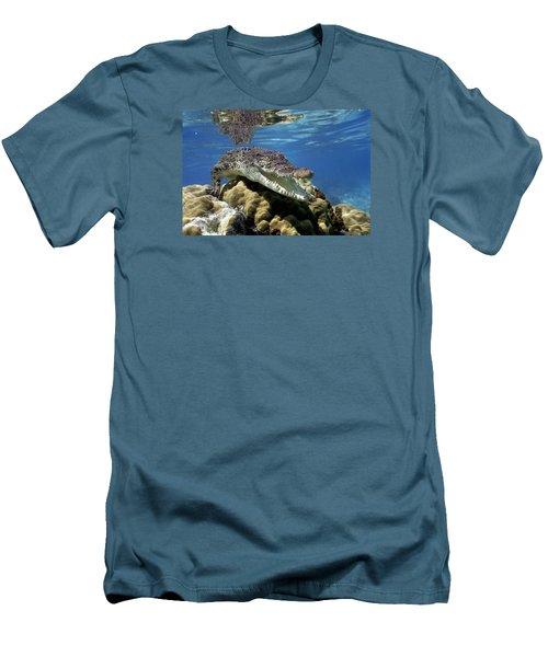 Saltwater Crocodile Smile Men's T-Shirt (Slim Fit) by Mike Parry