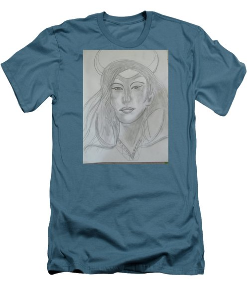 Men's T-Shirt (Slim Fit) featuring the drawing Samarai Warrior Woman by Sharyn Winters