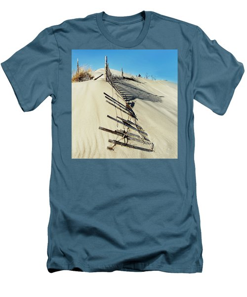 Sand Dune Fences And Shadows Men's T-Shirt (Slim Fit) by Gary Slawsky