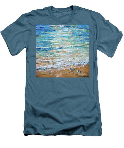 Sanderlings Men's T-Shirt (Slim Fit) by Linda Olsen
