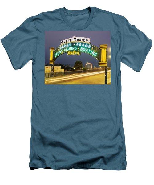 Santa Monica Pier Sign Santa Monica Ca Men's T-Shirt (Athletic Fit)