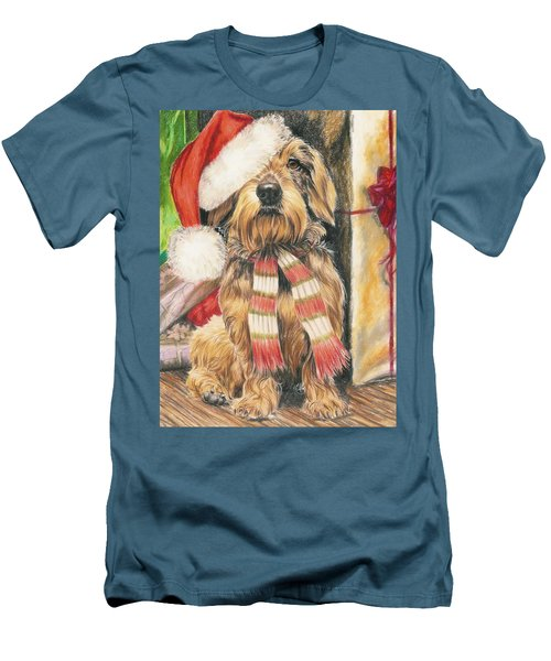 Men's T-Shirt (Slim Fit) featuring the drawing Santas Little Yelper by Barbara Keith
