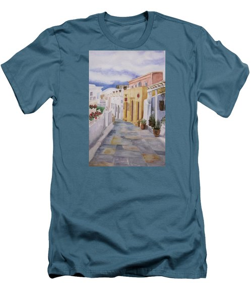 Men's T-Shirt (Slim Fit) featuring the painting Santorini Cloudy Day by Teresa Beyer
