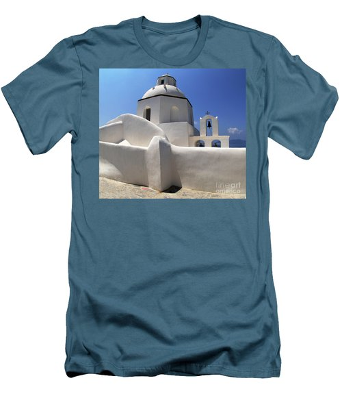 Men's T-Shirt (Slim Fit) featuring the photograph Santorini Greece Architectual Line 4 by Bob Christopher