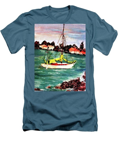Sarasota Bay Sailboat Men's T-Shirt (Slim Fit) by Angela Murray