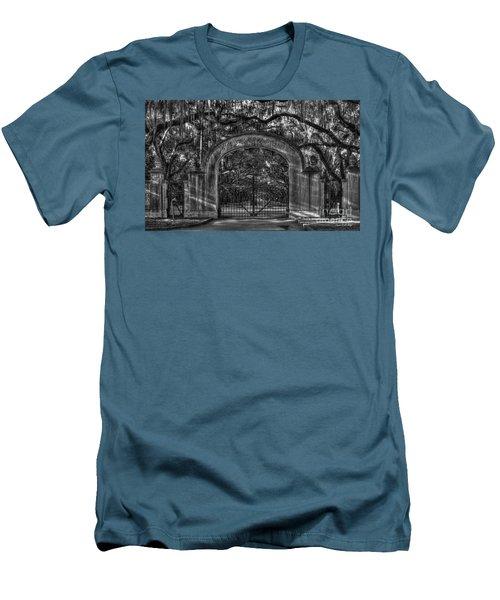 Men's T-Shirt (Slim Fit) featuring the photograph Savannah's Wormsloe Plantation Gate Bw Live Oak Alley Art by Reid Callaway