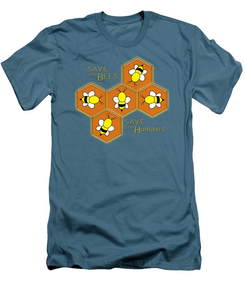 Save The Bees, Save The Humans Men's T-Shirt (Athletic Fit)