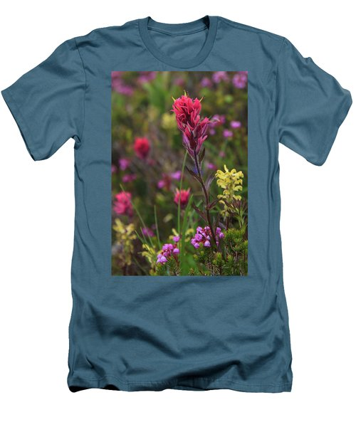 Men's T-Shirt (Athletic Fit) featuring the photograph Scarlet Paintbrush by David Chandler