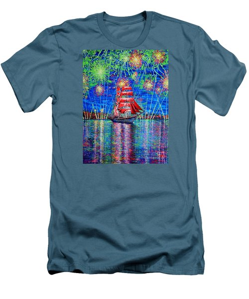 Men's T-Shirt (Slim Fit) featuring the painting Scarlet Sail by Viktor Lazarev