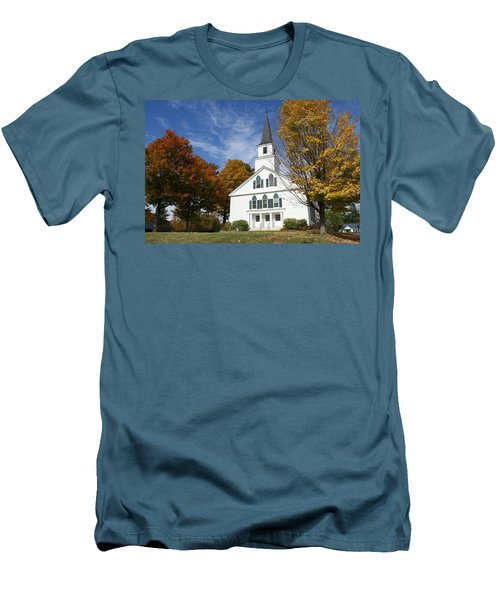 Scenic Church In Autumn Men's T-Shirt (Slim Fit) by Lois Lepisto