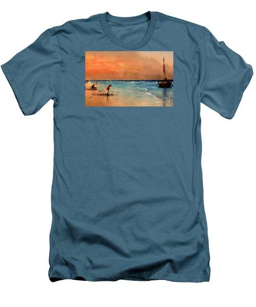 Men's T-Shirt (Slim Fit) featuring the photograph Scheveningen by John  Kolenberg