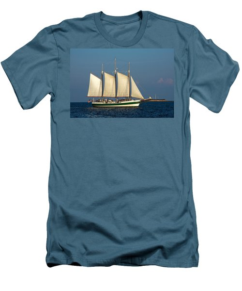 Schooner By Fort Sumter Men's T-Shirt (Slim Fit) by Sally Weigand