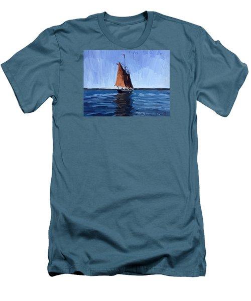 Schooner Roseway In Gloucester Harbor Men's T-Shirt (Slim Fit) by Melissa Abbott