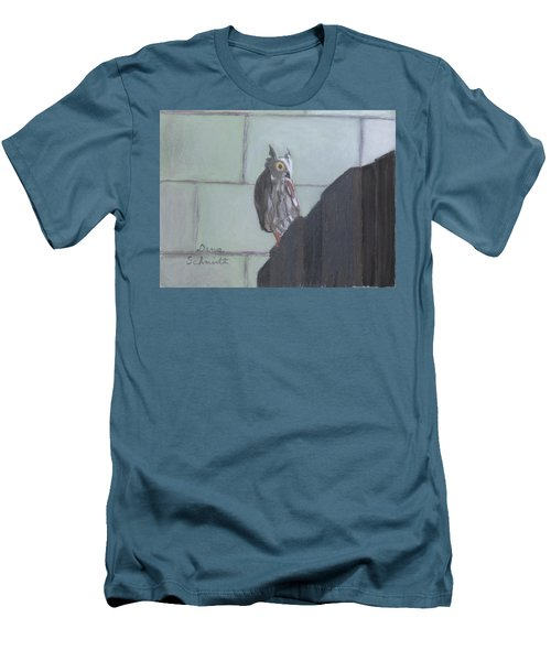 Screech Owl On Gate To Pergola Men's T-Shirt (Athletic Fit)