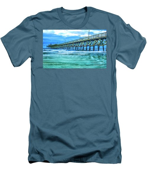 Sea Blue Cherry Grove Pier Men's T-Shirt (Athletic Fit)