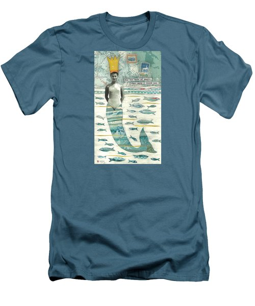 Men's T-Shirt (Slim Fit) featuring the painting Sea Queen by Casey Rasmussen White