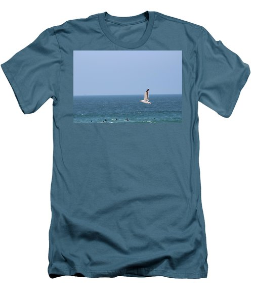Seagull Flying Over Huntington Beach Men's T-Shirt (Athletic Fit)
