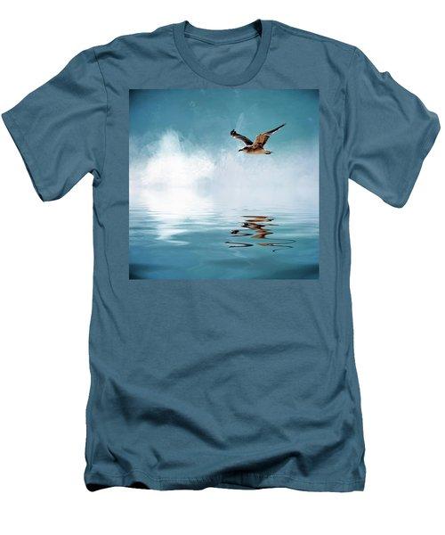 Seagull In Flight Men's T-Shirt (Slim Fit) by Cyndy Doty