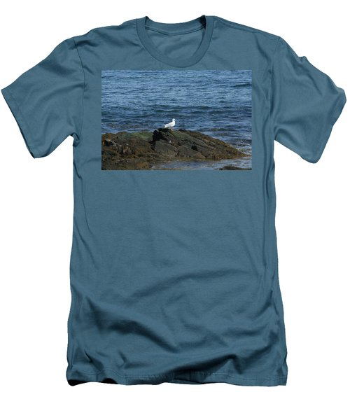 Men's T-Shirt (Slim Fit) featuring the digital art Seagull On The Rocks by Barbara S Nickerson