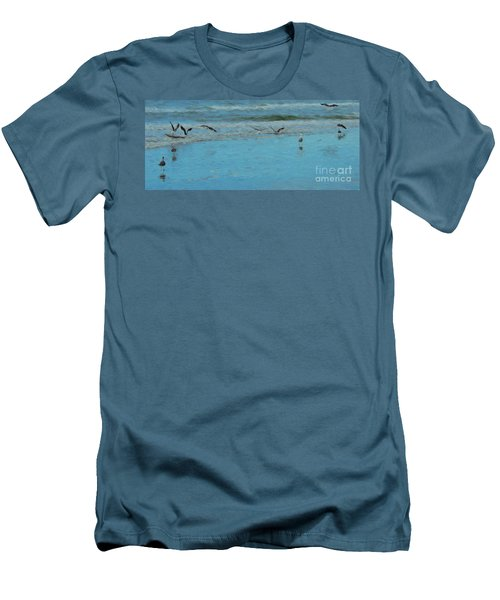 Men's T-Shirt (Slim Fit) featuring the photograph Seagulls At Myrtle Beach by Mim White