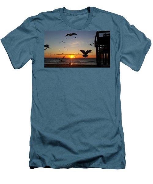 Seagulls At Sunrise Men's T-Shirt (Slim Fit) by Robert Banach