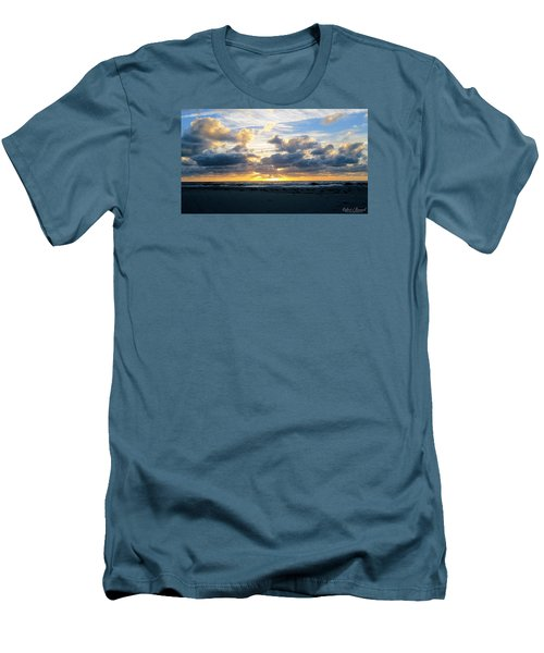Men's T-Shirt (Slim Fit) featuring the photograph Seagulls On The Beach At Sunrise by Robert Banach