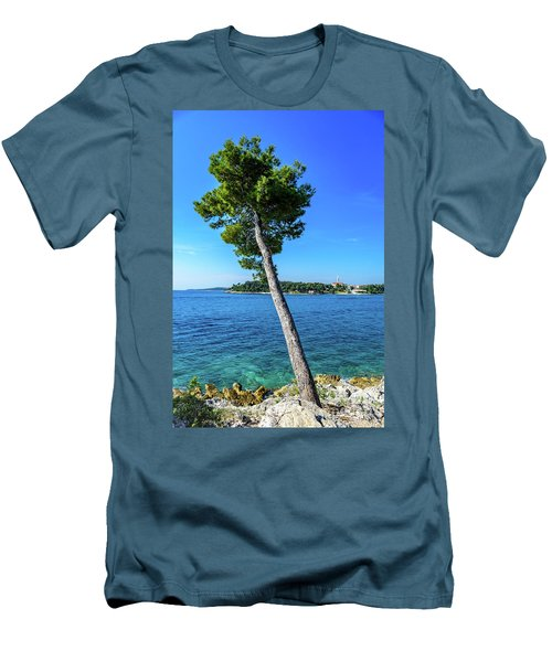 Seaside Leaning Tree In Rovinj, Croatia Men's T-Shirt (Athletic Fit)