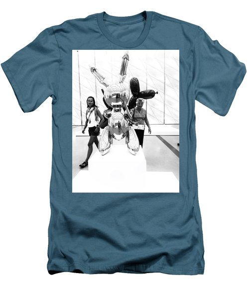 Self Portrait In Jeff Koons Mylar Rabbit Balloon Sculpture Men's T-Shirt (Athletic Fit)