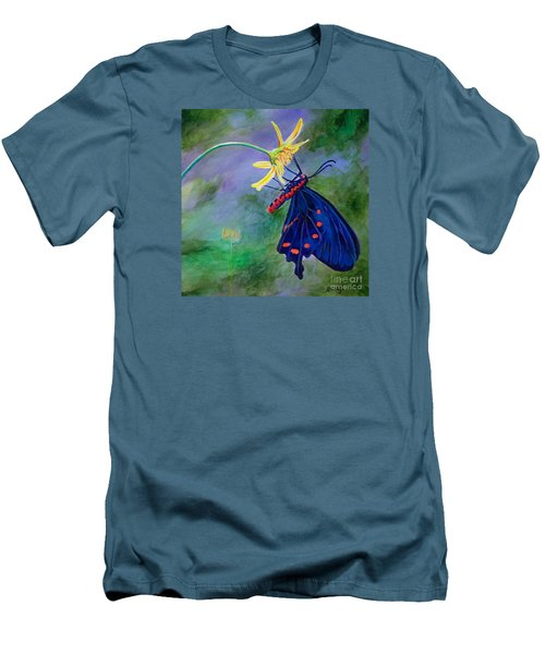 Men's T-Shirt (Slim Fit) featuring the painting Semperi Swallowtail Butterfly by AnnaJo Vahle