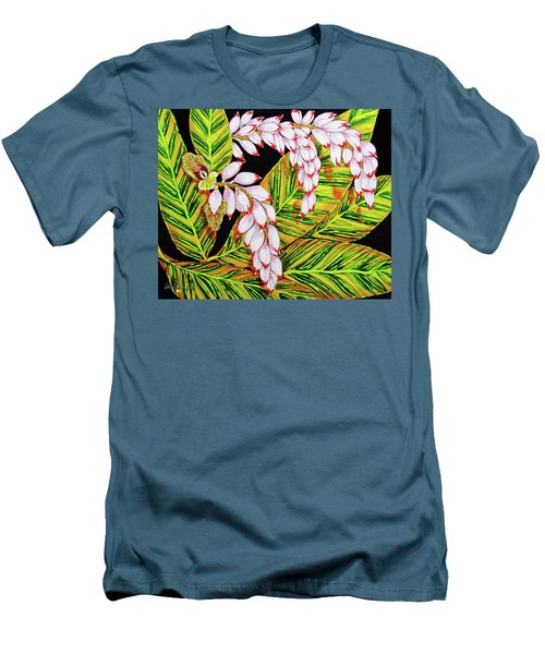 Shell Ginger Flowers Men's T-Shirt (Athletic Fit)