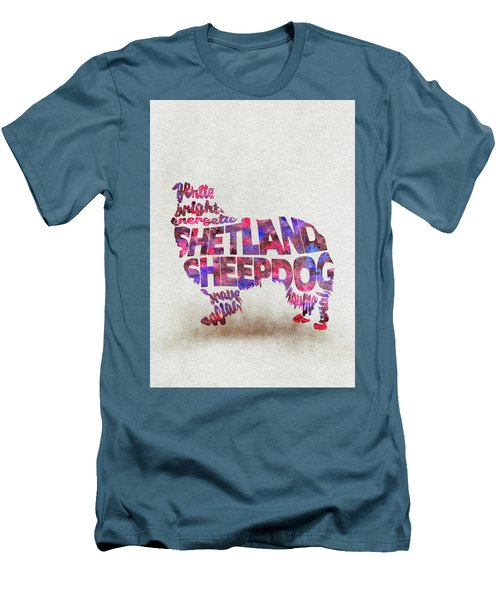 Men's T-Shirt (Athletic Fit) featuring the painting Shetland Sheepdog Watercolor Painting / Typographic Art by Inspirowl Design