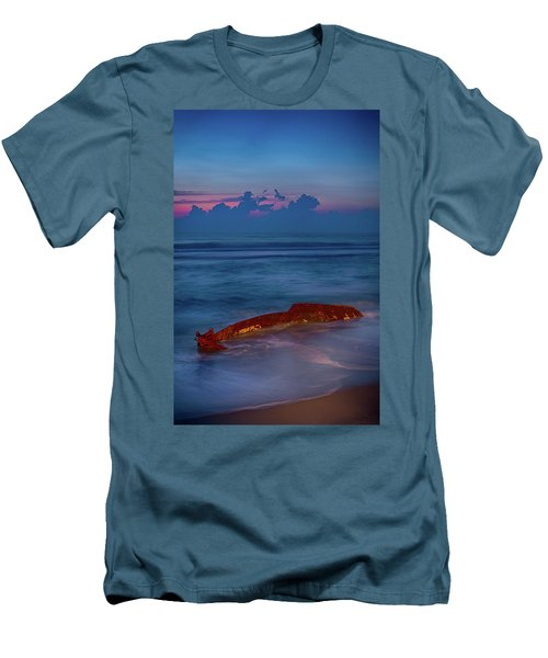 Men's T-Shirt (Slim Fit) featuring the photograph Shipwreck On The Outer Banks The End by Dan Carmichael